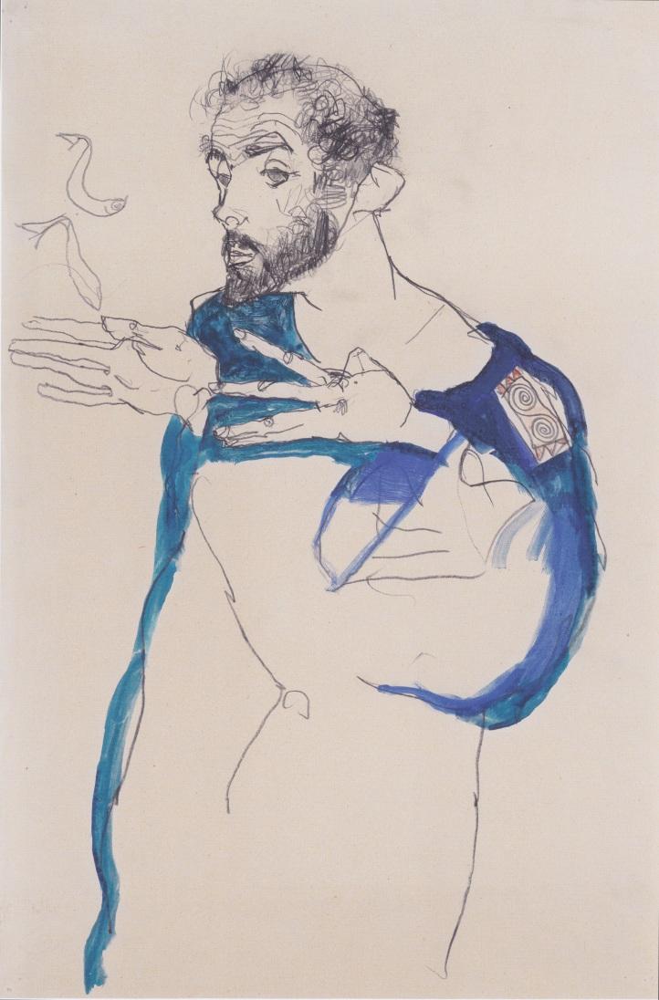 Egon Schiele. Gustav Klimt en azul. 1913. Carboncillo y acuarela sobre papel. 48,1 x 32 cm. Colección privada.