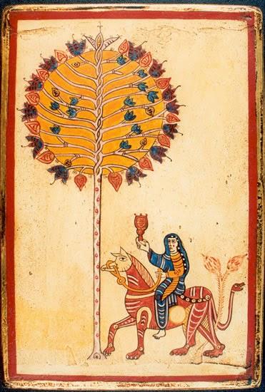 """La imagen emblemática del """"Beato de Gerona"""" es """"La mujer sobre la bestia roja"""". Lleva en la mano el cáliz de sus abominaciones, que levanta triunfante sobre la cabeza. Cabalga sobre una bestia roja, una especie de caballo con pico de grifo,  garras de león y cola rematada en cabeza de serpiente. Aparece también un espléndido árbol de copa redonda, que recuerda modelos musulmanes."""