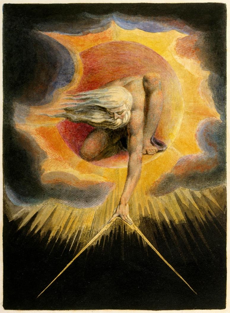 >, 1794. Aguafuerte y Acuarela, 36.0 x 25.7 cm. Copia que se conserva en el British Museum. El personaje de la escena al que vemos inclinado, es un anciano dibujando el mundo con un compás. Es un ser creado por el ingenio de Blake, al que llamó Urizén.