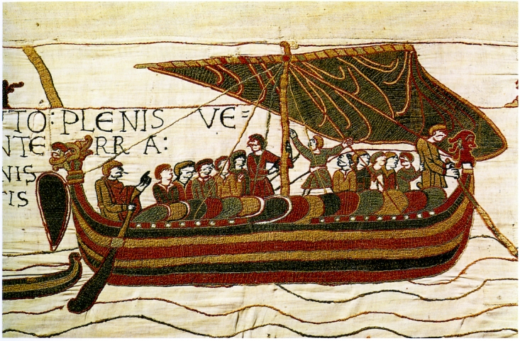 Harold el Sajón cruzando el Canal de la Mancha según la escena 5 del tapiz de Bayeux