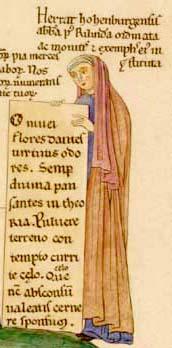 Herrada de Landsberg. Autorretrato de Hortus deliciarum, hacia 1180.
