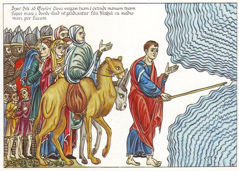 Moisés abriendo las aguas. Hortus Delicarium.