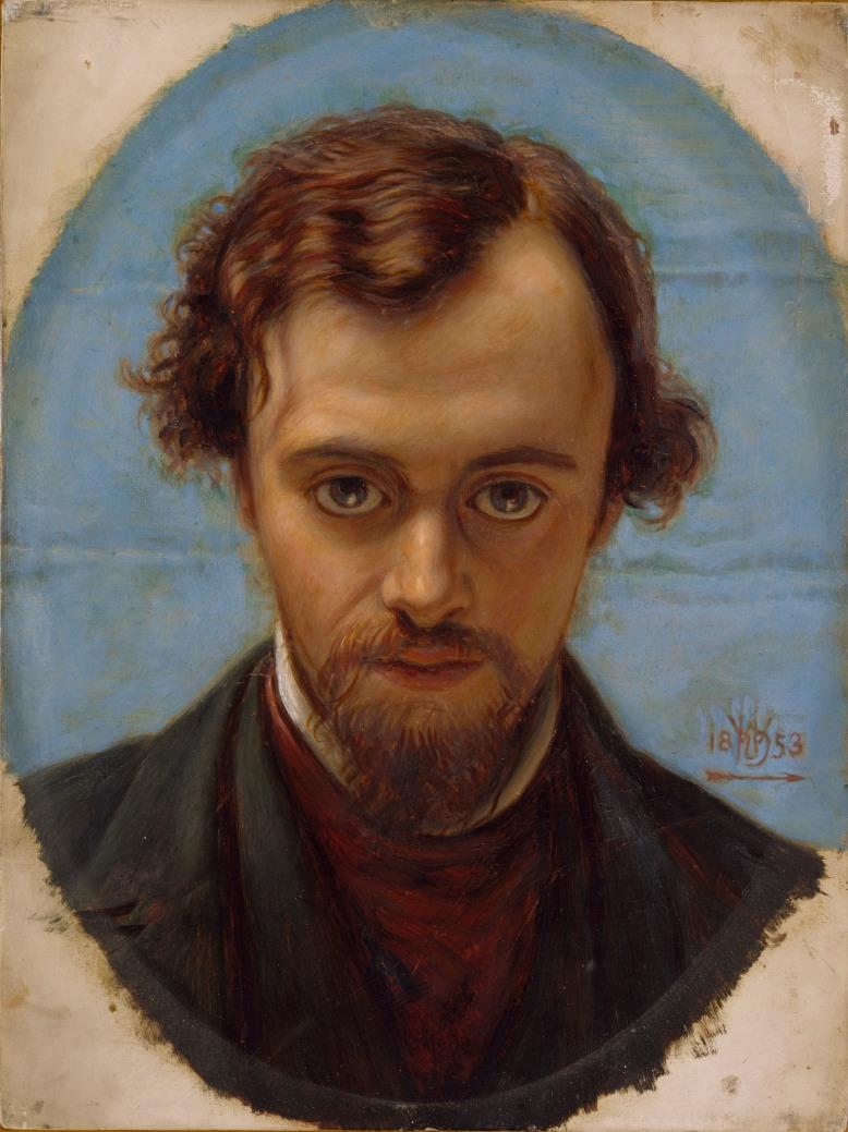 William Holman Hunt: Retrato de Dante Gabriel Rossetti (1853).