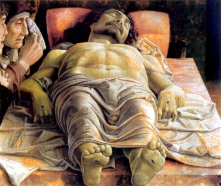 Andrea Mantegna (1431–1506) Lamentación sobre Cristo muerto. Entre 1475 y 1501. Tempera sobre tela. 66 × 81 cm. Pinacoteca di Brera, Milán, Italia.