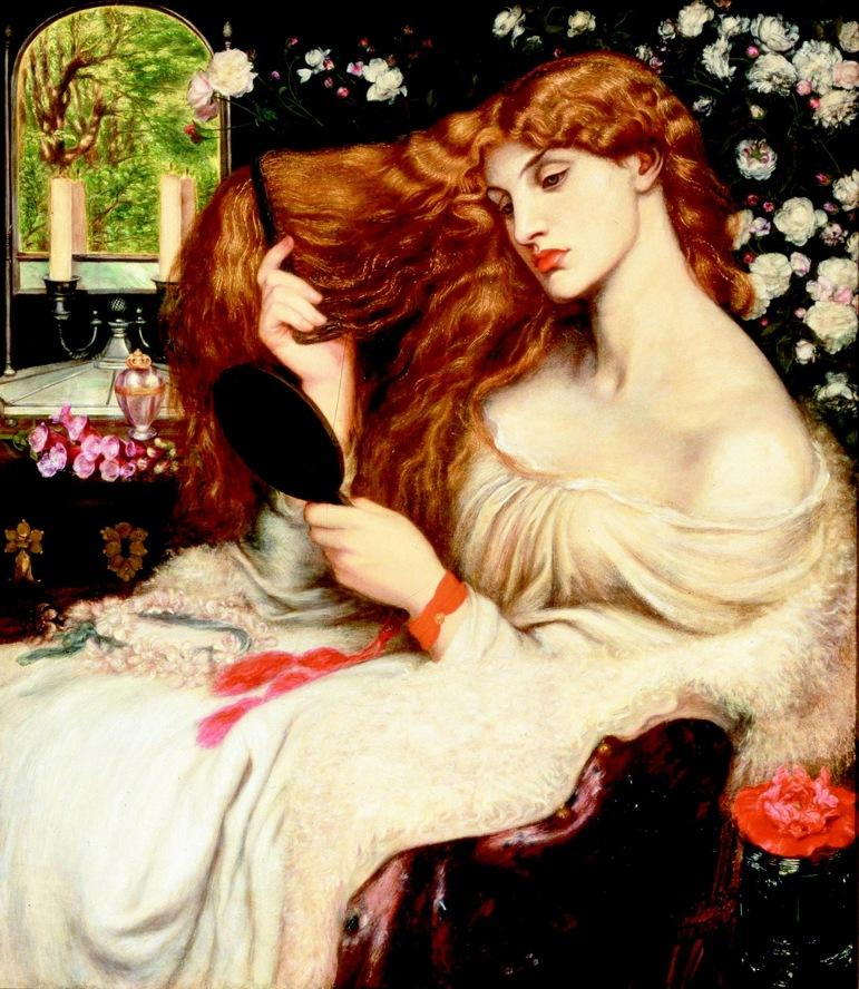 Lady Lilith (c. 1866-68), Dante Gabriel Rossetti. Óleo sobre lienzo, 96,5 x 85,1 cm, Museo de Arte de Delaware. Iniciado en 1864 con Fanny Cornforth como el modelo, y se terminó en 1868. Posteriormente la alteró para mostrar el rostro de otra de sus musas preferidas, Alexa Wilding, la única con quien no mantuvo una relación sentimental. en Kelmscott 1872-3 con el rostro de Alexa Wilding.
