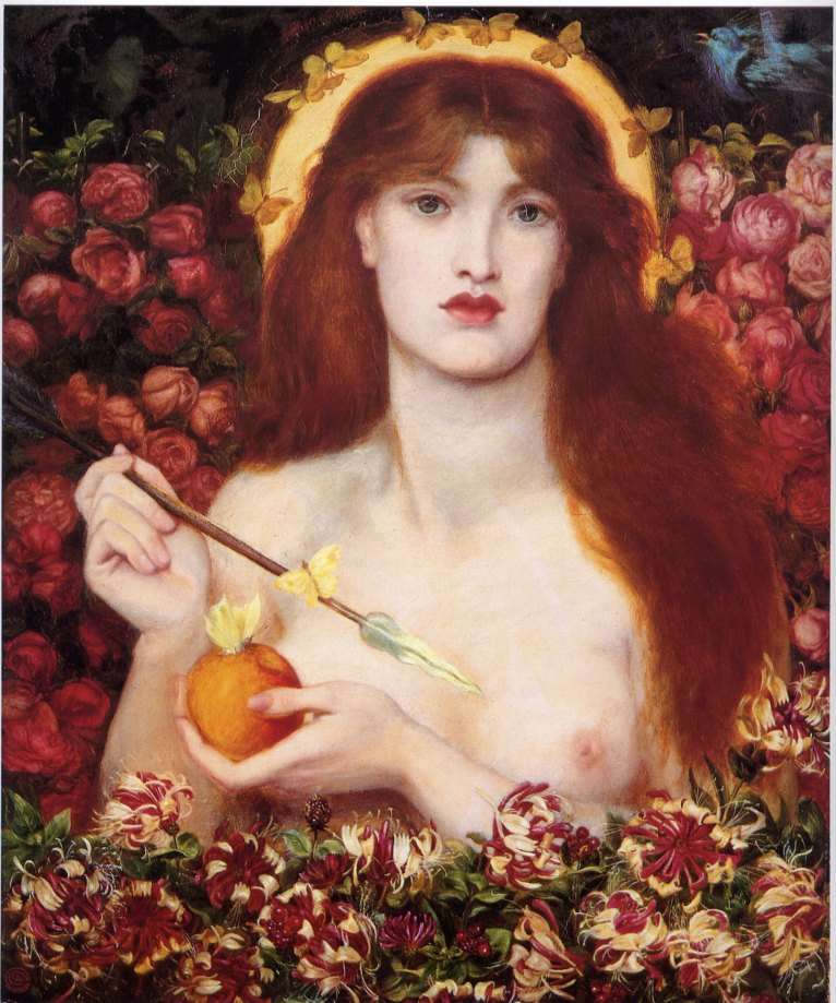 Dante Gabriel Rossetti, Venus Verticordia. 1866. Óleo sobre lienzo, 98 x 70 cm. Russell Cotes Art Gallery and Museum, Bournemouth.