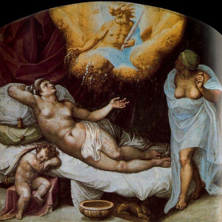 Dánae concibiendo a Perseo con la lluvia de oro de Zeus, gaspar becerra, s. XVI
