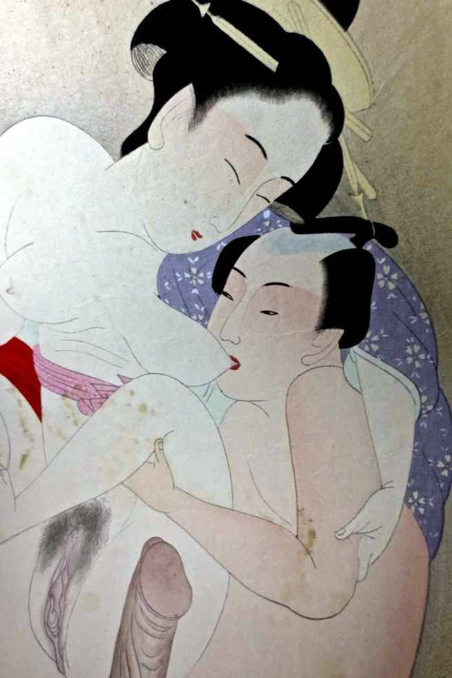 shunga woodblock print hokusai school