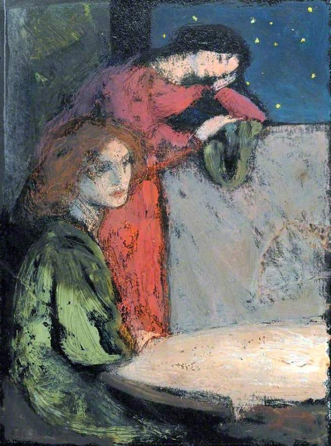 Robinson, Frederick Cayley, 1862-1927; Two Girls by a Table Look out on a Starry Night